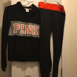 Pink sweatpants and jacket